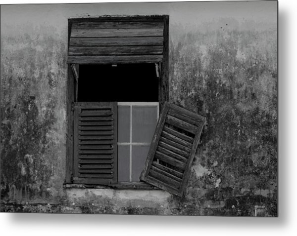 Crumblling Window Metal Print