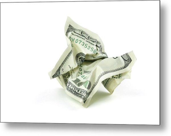 Crumpled Money With Clipping Path Metal Print by Georgepeters