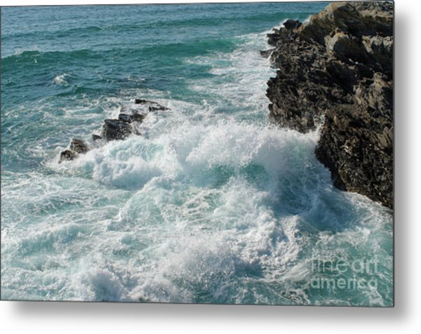 Crushing Waves In Porto Covo Metal Print
