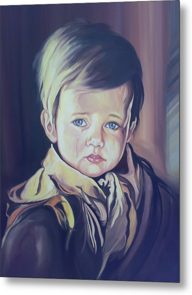 Crying Child Metal Print