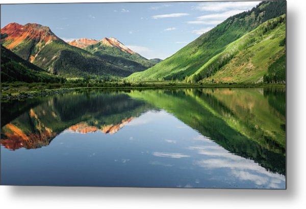 Crystal Lake Red Mountain Reflection Metal Print