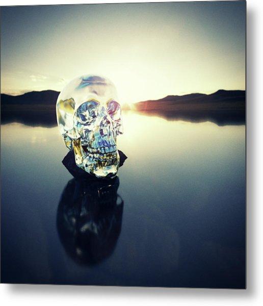 Crystal Skull Laying On Rock In Lake Metal Print by Doug Armand
