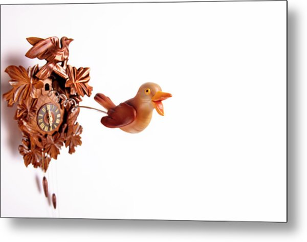 Cuckoo Coming Out Of Cuckoo Clock With Metal Print