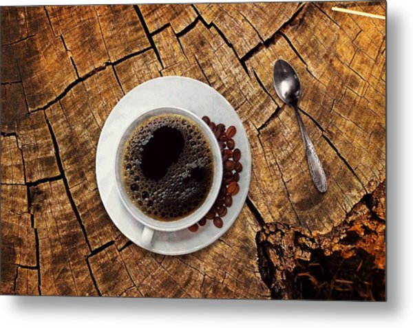 Cup Of Coffe On Wood Metal Print