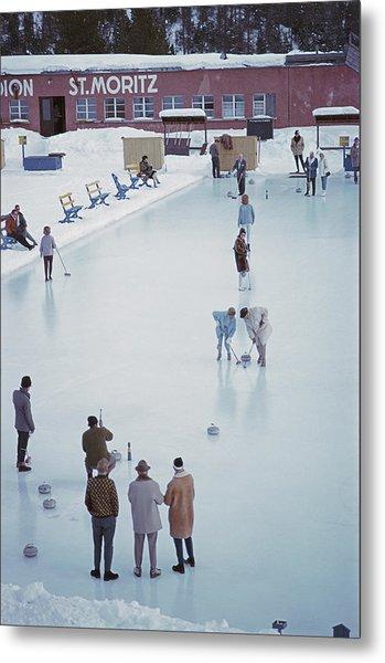 Curling At St. Moritz Metal Print