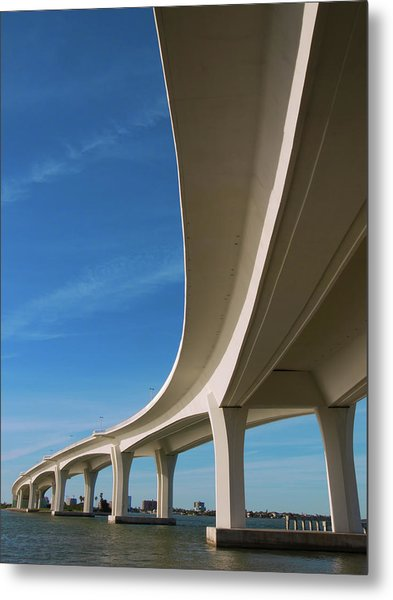 Curved Bridge Overpass Over The Water Metal Print by Dsharpie