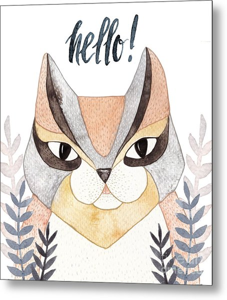 Cute Abstract Cat. Pastel Metal Print