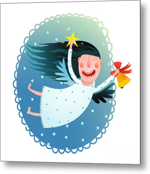 Cute Angel Girl Holding Star And Bell Metal Print