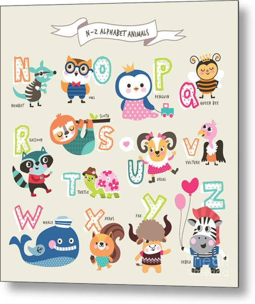 Cute Cartoon Animals Alphabet From N To Metal Print