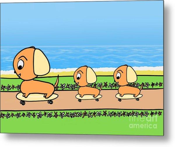 Cute Cartoon Dogs On Skateboards By The Beach Metal Print