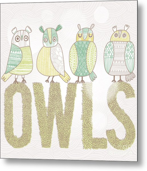 Cute Cartoon Owls In Vector With Text Metal Print