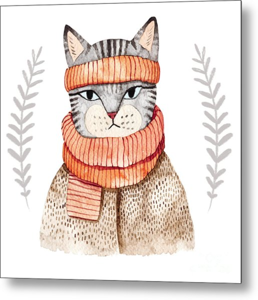 Cute Cat In Scarf .illustration With Metal Print