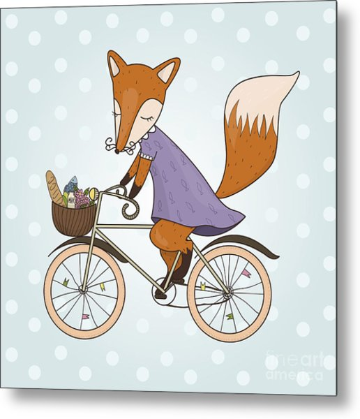 Cute Fox Riding On A Bicycle .bicycle Metal Print by Maria Sem