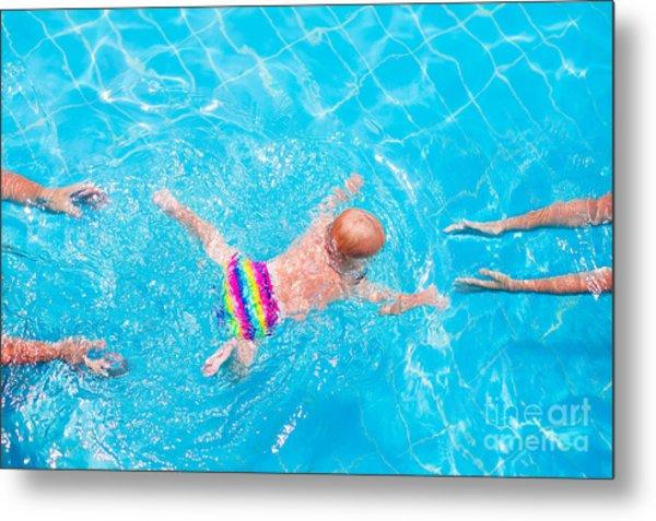 Cute Little Baby Swimming Underwater Metal Print