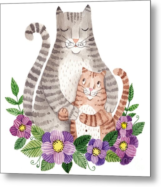 Cute Mothers Day Greeting Card With Metal Print