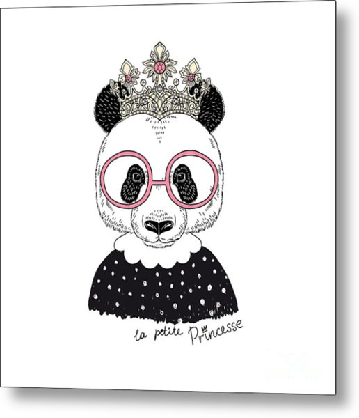 Cute Portrait Of Panda Princess, Hand Metal Print by Olga angelloz