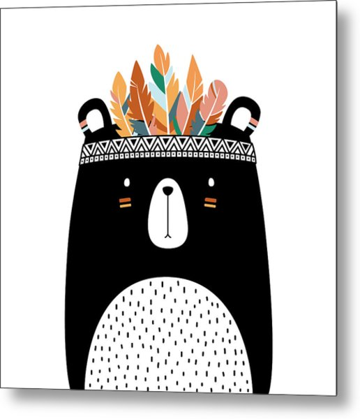 Cute Tribal Bear - Boho Chic Ethnic Nursery Art Poster Print Metal Print