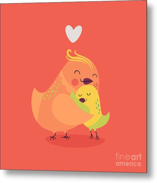 Cute Vector Cartoon Decorative Birds Metal Print by Mascha Tace