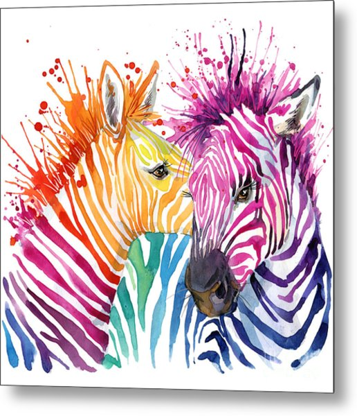 Cute Zebra. Watercolor Illustration Metal Print by Faenkova Elena