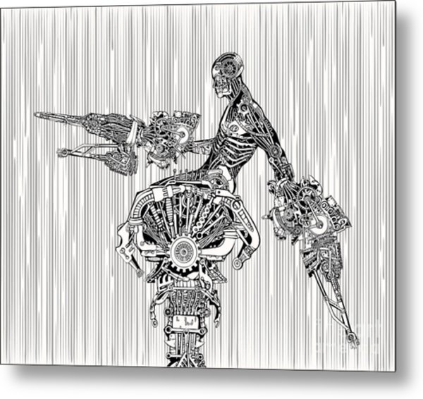 Cyborg War Metal Print by Ryger