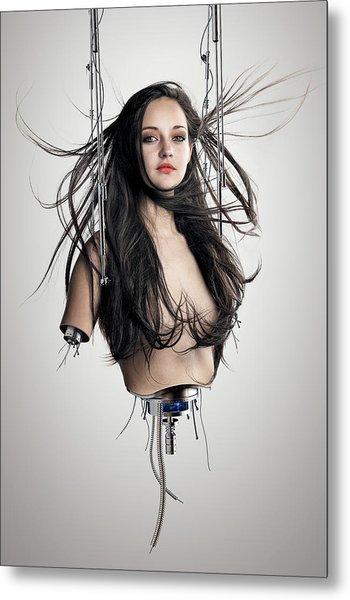 Cyborg Woman Metal Print