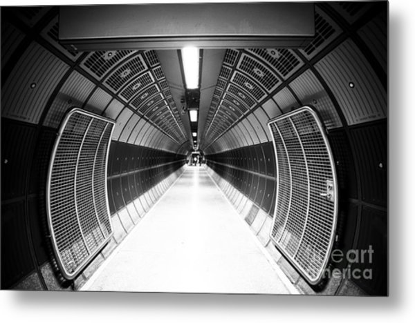 Cylindric Tunnel For Pedestrians Metal Print