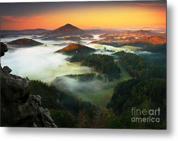 Czech Typical Autumn Landscape. Hills Metal Print