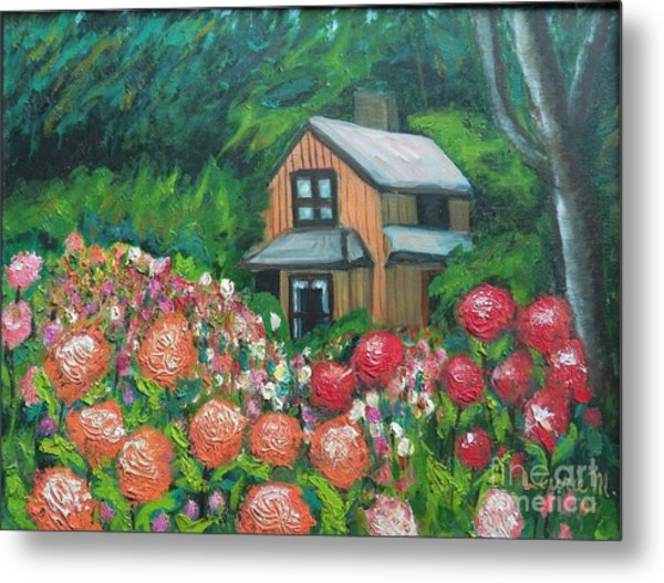 Dahlias In The Woods Metal Print