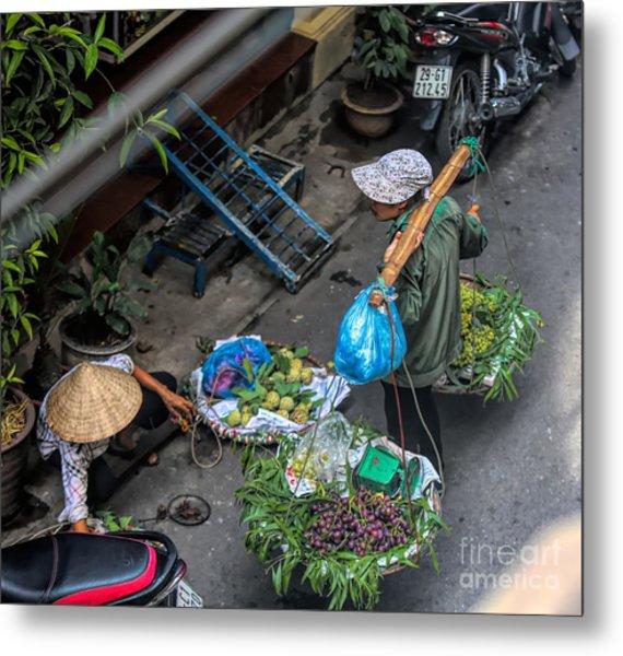 Daily Life Hanoi Streets  Metal Print