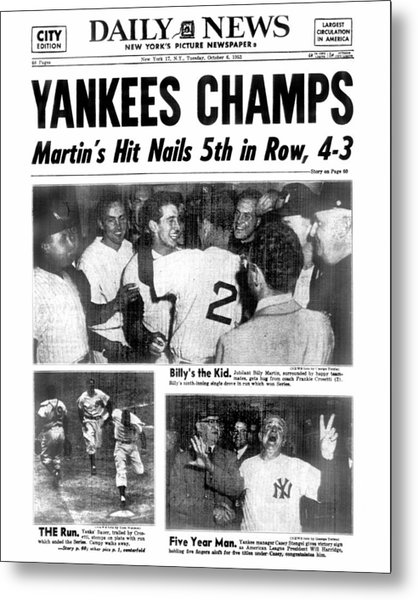 Daily News Back Page Dated Oct. 6, 1953 Metal Print by New York Daily News Archive