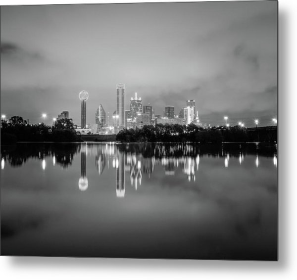 Dallas Cityscape Reflections Black And White Metal Print