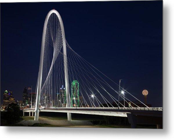 Dallas' Suspension Bridge At Night Metal Print by Dhughes9