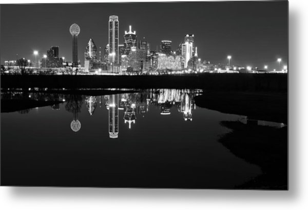 Dallas Texas Cityscape Reflection Metal Print