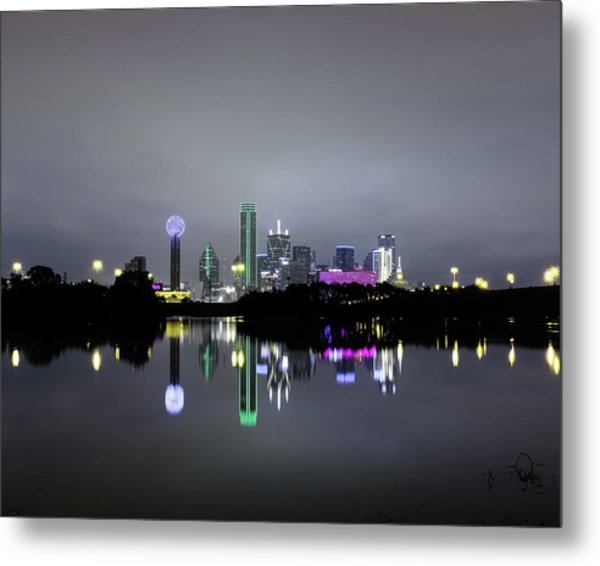 Dallas Texas Cityscape River Reflection Metal Print