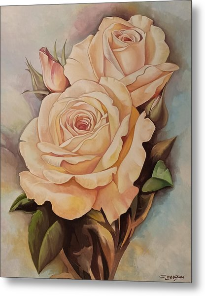 Metal Print featuring the painting Damask Roses by Said Marie
