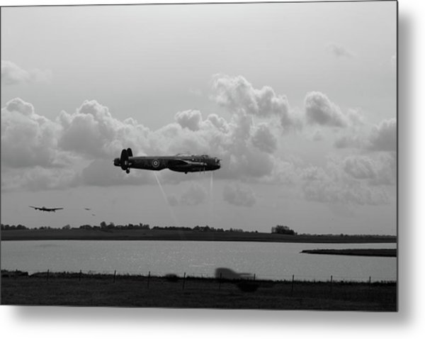Metal Print featuring the photograph Dambusters Lancasters At Abberton Bw Version by Gary Eason