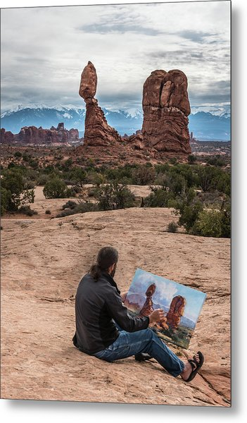 Daniel Paints Balanced Rock Metal Print