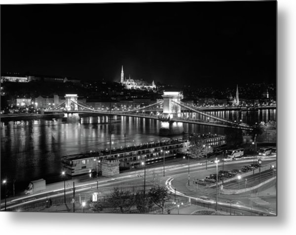 Metal Print featuring the photograph Danube River At Night by Mark Duehmig