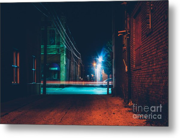 Dark Alley And Light Trails In Hanover Metal Print
