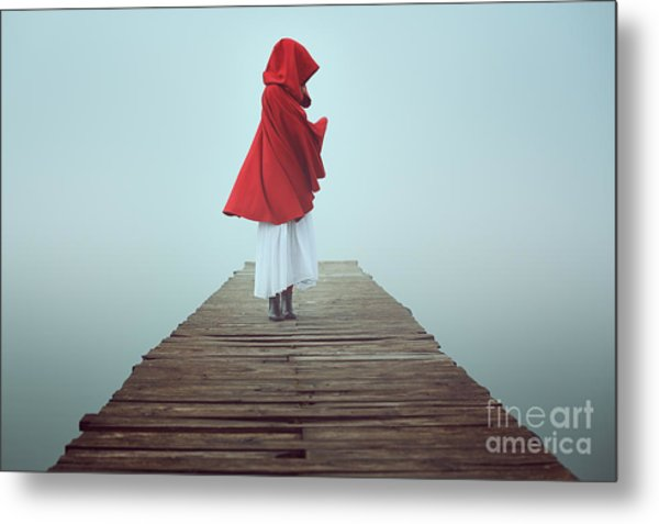 Dark Little Red Riding Hood In The Mist Metal Print