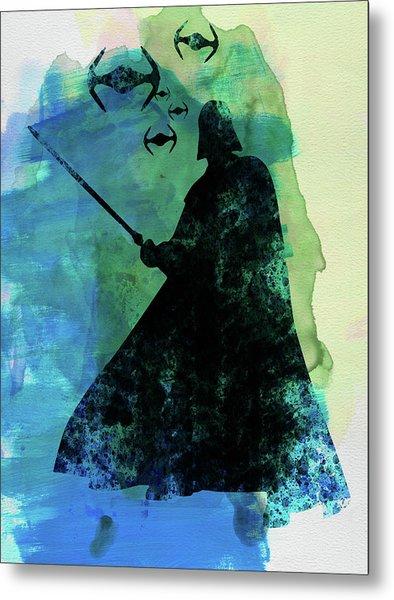 Darth Fighting Watercolor Metal Print