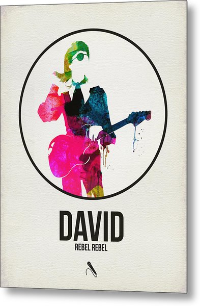 David Bowie Watercolor Metal Print