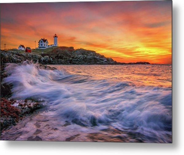 Dawn At Cape Neddick Lighthouse Metal Print