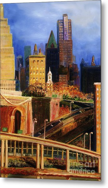 Metal Print featuring the painting Dawn At City Hall by Donna Hall