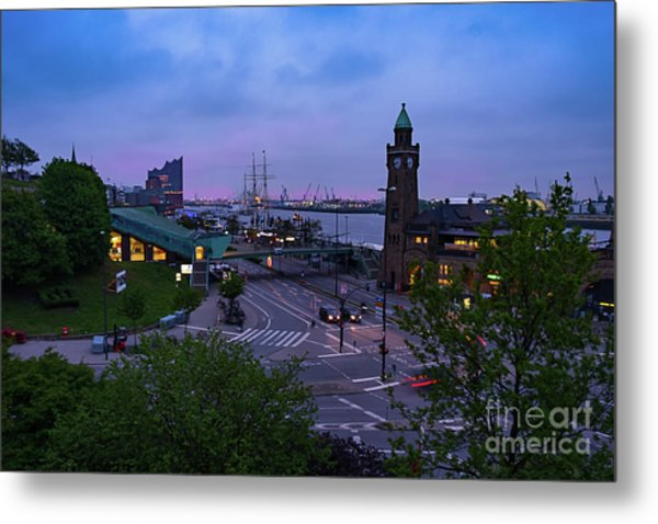 Dawn Over The Port And City Hamburg Panorama Metal Print