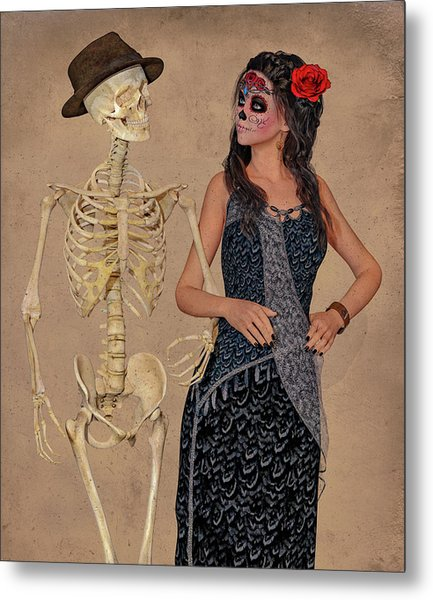 Day Of The Dead Costume Party Metal Print