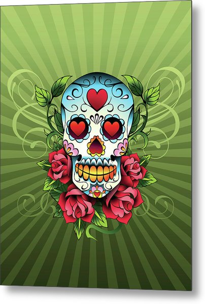 Day Of The Dead Skull Metal Print by New Vision Technologies Inc