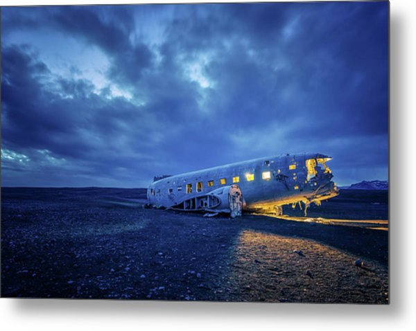 Dc-3 Plane Wreck Illuminated Night Iceland Metal Print