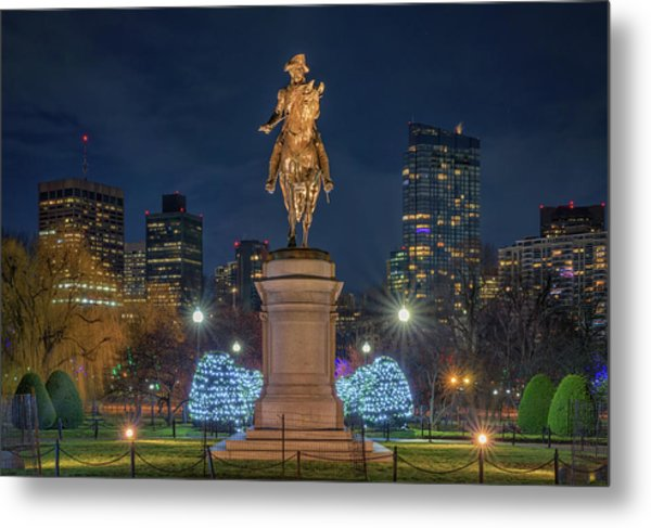 December Evening In Boston's Public Garden Metal Print