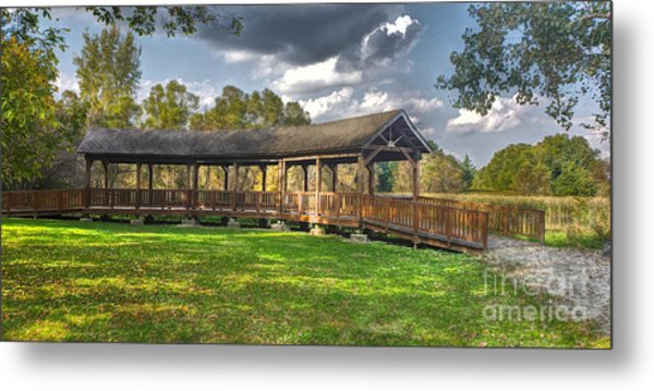 Deck At Pickerington Ponds Metal Print